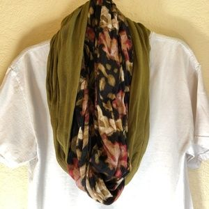 Olive Green & Floral (2-Tone) Infinity Scarf
